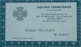 PORTOGALLO Liga Dos Combatentes Ticket Biglietto - Lisbona - Tickets - Vouchers
