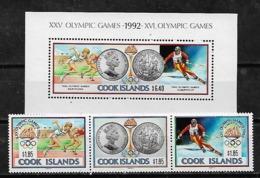 &BAR 14A& COOK ISLANDS MICHEL 1307/1309+ BL 202 MNH**, SPORT, OLYMPIC GAMES BARCELONA 92, SKI, COINS. - Cook