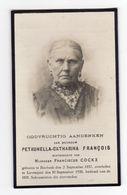 Doodsprentje VROUW FEMME Petronella FRANCOIS °1857 BIERBEEK +1926 LOVENJOUL // COCKX - Andachtsbilder