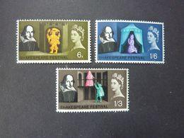 GRANDE BRETAGNE, Année 1964, Shakespeare, YT N° 383-384-385 Neufs MNH** - 1952-.... (Elizabeth II)