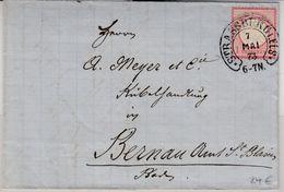 DR - 1 Gr. Gr. Brustschild Brief Hufeisen Strassburg I. Els. - Bernau/Baden 1873 - Brieven En Documenten