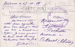 Croix Rouge Cachet Hôpital Complémentaire N°4 Cauderan Gironde  1918 - Marcophilie (Lettres)