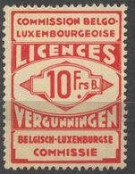 1919 BELGIUM Belgique Luxembourg Luxemburg LICENCES VERGUNNINGEN Import Revenue Tax STAMP - Fiscali