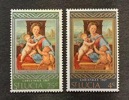 ST SAINT LUCIA WEST INDIES 1967 CHRISTMAS RAPHAEL MADONNA CHILD JESUS WITH INFANT ST JOHN BAPTIST NHM SG 241-2 PAINTING - Paintings