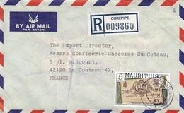 ILE MAURICE 1983 - ENVELOPPE RECOMMANDEE DE CUREPIPE POUR LE COTEAU LOIRE - Mauritius (1968-...)