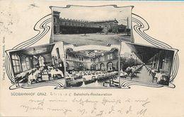 OLD POSTCARD - AUSTRIA - SUDBAHNHOF GRAZ - BAHNHOFS - RESTAURATION - VIAGGIATA 1905 - P32 - Graz