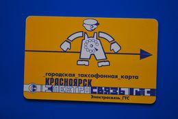 Krasnoyarsk. Blue Man. Yellow Card. 50 Un. 7 Digits. - Russie