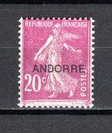 ANDORRE N° 8  NEUF AVEC CHARNIERE COTE 9.00€   TYPE SEMEUSE - Andorre Français