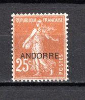 ANDORRE N° 9  NEUF AVEC CHARNIERE COTE 10.50€   TYPE SEMEUSE - Andorre Français