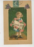 """ENFANTS - LITTLE GIRL - MAEDCHEN - Jolie Carte Fantaisie Gaufrée Fillette Et Fleurs """"Bonne Fête"""" (embossed Postcard) - Dessins D'enfants"""