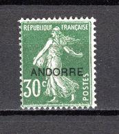 ANDORRE N° 10  NEUF AVEC CHARNIERE COTE 10.50€   TYPE SEMEUSE - Andorre Français