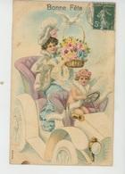 """ENFANTS - ANGES - Jolie Carte Fantaisie Gaufrée Femme Et Angelot Dans Automobile De  """"Bonne Fête"""" (embossed Postcard) - Dessins D'enfants"""