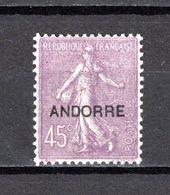 ANDORRE N° 14  NEUF AVEC CHARNIERE COTE 23.00€   TYPE SEMEUSE LIGNEE - Andorre Français