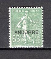 ANDORRE N° 16  NEUF AVEC CHARNIERE COTE 31.00€   TYPE SEMEUSE LIGNEE - Andorre Français