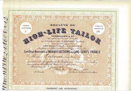 Titre Ancien - Société Du High-Life-Tailor -Verbouwe & Cie - En Commandite Par Actions - Titre De 1906 - - Textile