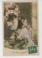 ENFANTS - LITTLE GIRL - MAEDCHEN - Jolie Carte Fantaisie Portrait Fillette Avec Papillon Et Fleurs - Portraits