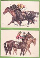 2 Belle CPSM Sport Hippisme Tiercé Illustrateur André Bermond Cheval Jockey - Hípica