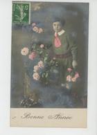 """ENFANTS -  Jolie Carte Fantaisie Portrait Petit Garçon Et Fleurs De """"Bonne Année """" - Portraits"""