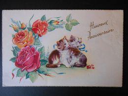 Petits Chats Avec Ruban, Roses Oranges Et Roses - N° 3024 - Chats