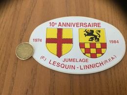 AUTOCOLLANT, Sticker «10e ANNIVERSAIRE 1974 1984 - JUMELAGE LESQUIN (59) LINNICH (RFA, Allemagne)» (blason) - Aufkleber