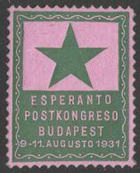 1931 ESPERANTO POSTKONGRESO Post Congress Budapest - LABEL CINDERELLA VIGNETTE - MNH - Esperanto
