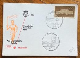 XX OLIMPIADE - MÜNCHEN 1972  - CARTOLINA VIAGGI FIAMMA OLIMPICA : KIEL-MUNCHEN - ANNULLO OLIMPICO  NURNBERG  1 - Summer 1972: Munich