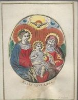 K54//  HANDGEKLEURDE GRAVURE OP PERKAMENT  MARIA JESUS ANNA  9/11,50 Cm F;hubertiPRACHTIG BEELD!!! - Religion & Esotericism