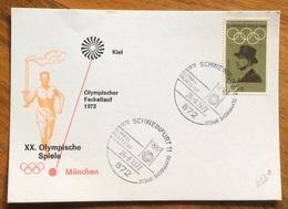 XX OLIMPIADE - MÜNCHEN 1972  - CARTOLINA VIAGGI FIAMMA OLIMPICA : KIEL-MUNCHEN - ANNULLO OLIMPICO  SCHWEINFURT 11 - Summer 1972: Munich