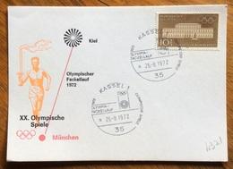 XX OLIMPIADE - MÜNCHEN 1972  - CARTOLINA VIAGGI FIAMMA OLIMPICA : KIEL-MUNCHEN - ANNULLO OLIMPICO  KASSEL 1 - Summer 1972: Munich