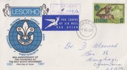 Enveloppe  Recommandée   FDC  1er  Jour   LESOTHO   60éme  Anniversaire  Du  SCOUTISME   1967 - Movimiento Scout