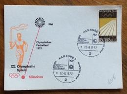XX OLIMPIADE - MÜNCHEN 1972  - CARTOLINA VIAGGI FIAMMA OLIMPICA : KIEL-MUNCHEN - ANNULLO OLIMPICO  HAMBURG  1 - Summer 1972: Munich