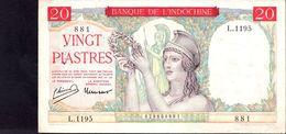 20 PIASTRES INDO-CHINE Française 1949   TTB - Indochine