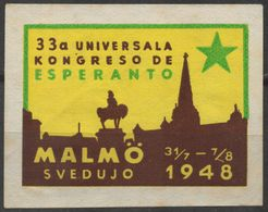 1948 SWEDEN MALMÖ ESPERANTO Congress - LABEL CINDERELLA VIGNETTE - Used - Horse Monument - Esperanto