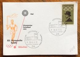 XX OLIMPIADE - MÜNCHEN 1972  - CARTOLINA VIAGGI FIAMMA OLIMPICA : KIEL-MUNCHEN - ANNULLO OLIMPICO  GUTTINGEN  1 - Summer 1972: Munich