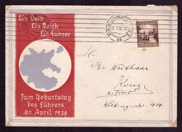 Brief DR  BERLIN-CHARLOTTENBURG 2 - Konz-Trier - 21.7.38 - Mi.665 - Ein Volk Ein Reich Ein Führer - Zum Geb. Des Führers - Deutschland
