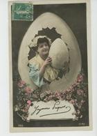 """FEMMES - FRAU - LADY - Jolie Carte Fantaisie Portrait Femme Dans Oeuf De """"Joyeuses Pâques """" - Pâques"""