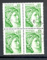 Bloc Oblitéré - Bloc De 4 Timbres - Type Sabine De Gandon Y&T 1970 - Date D'Emission 1977 - Valeur Faciale 0.80 - (1) - Sheetlets