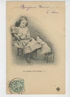 """ENFANTS - LITTLE GIRL - MAEDCHEN - Jolie Carte Fantaisie Fillette Avec Poupées """"Les Frasques D'une Poupée"""" - Dessins D'enfants"""