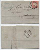 SARREGEMINES - SAARGEMÜND - MOSELLE - LORRAINE / 1874 OBLITERATION FER A CHEVAL SUR PLI POUR STRASBOURG (ref 7847) - Elzas-Lotharingen
