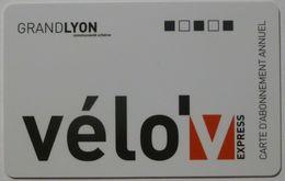 VELO GRAND LYON - Carte Abonnement Annuel Velo'v Express - Titres De Transport