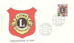 30.X.67 LIONS INTERNATIONAL - 6. 1946-.. Repubblica
