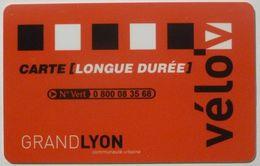 VELO GRAND LYON - Carte Longue Durée Velo'v - Titres De Transport