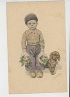 ENFANTS -DOG - Jolie Carte Fantaisie Viennoise Petit Garçon Avec Fleurs Et Chien Signée FEIERTAG - B K W I 616 4 - Feiertag, Karl