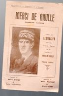(guerre 39-45) Partition (chanson Petit Format) MERCI DE GAULLE (Lemercier)  (MPA PF 353) - Musique & Instruments
