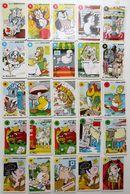 25 CARTES DE JEU DE 7 SEPT FAMILLES LES ANIMAUX CHAT POISSON PECHE CHIEN SAINT BERNARD CROIX ROUGE RHUM LAITERIE BAYEUX - Autres