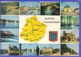 Carte Postale Géographique  Département 72. La Sarthe    Très Beau Plan - Mapas