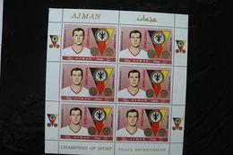 Ajman Football Soccer Germany Franz Beckenbauer Sheet Of Six MNH 1969 A04s - Ajman