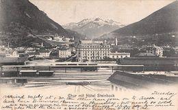 CPA  Suisse,  CHUR, Mit Hotel Steinbock, Bahnhof Mit Dampflok Rhätische Bahn, 1905 - GR Grisons