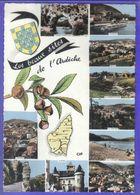 Carte Postale Géographique  Département 07. L'Ardèche  Très Beau Plan - Mapas