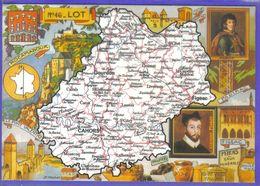 Carte Postale Géographique  Département 46. Le Lot  Par J.P. Pinchon   Très Beau Plan - Mapas